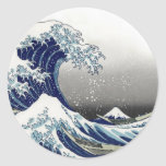 PixDezines Vintage, Great Wave, Hokusai 葛飾北斎の神奈川沖浪 Round Sticker