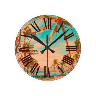 PixDezines vintage hawaii beach Clocks