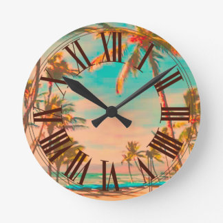 PixDezines vintage hawaii beach Round Clock
