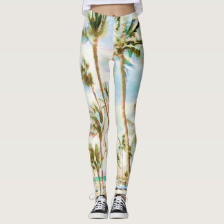 PixDezines Vintage Hawaiian Beach/Blue Leggings