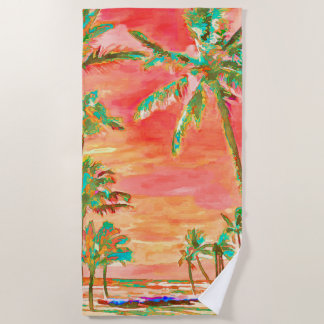PixDezines Vintage Hawaiian Beach/Coral Orange Beach Towel