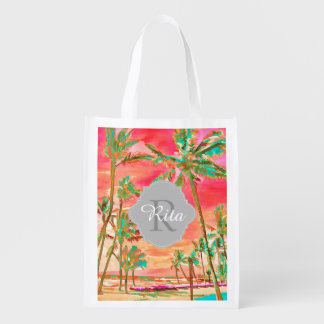 PixDezines Vintage Hawaiian Beach/Coral Orange Reusable Grocery Bag