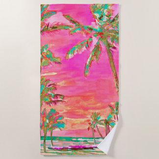 PixDezines Vintage Hawaiian Beach/Pink/Teal Beach Towel