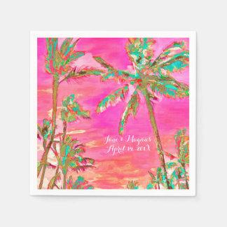 PixDezines Vintage Hawaiian Beach/Pink/Teal Disposable Serviette