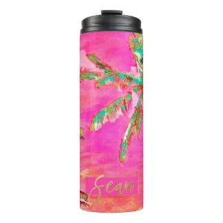 PixDezines Vintage Hawaiian Beach/Pink/Teal Thermal Tumbler