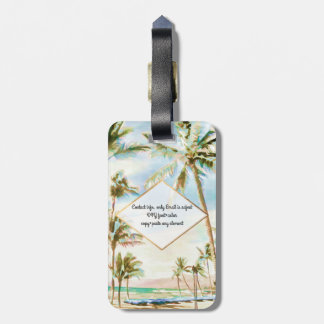 PixDezines vintage hawaiian beach scene/Breezy Blu Luggage Tag