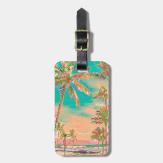 PixDezines vintage hawaiian beach scene/teal Bag Tag