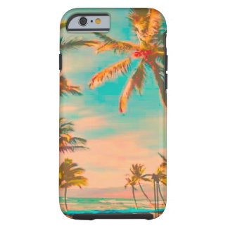 PixDezines Vintage Hawaiian Beach Scene/teal Tough iPhone 6 Case