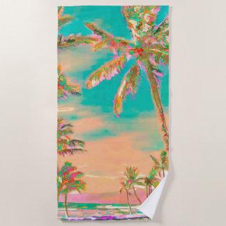 PixDezines Vintage Hawaiian Beach/Teal Beach Towel
