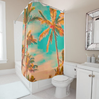 PixDezines Vintage Hawaiian Beach/Teal Shower Curtain