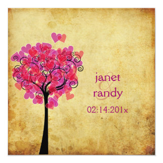 PixDezines vintage hearts tree, burgundy+red 13 Cm X 13 Cm Square Invitation Card