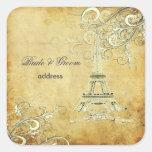 PixDezines Vintage La Tour Eiffel+Swirls Square Sticker