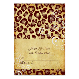 PixDezines Vintage Leopard place cards, chubby Large Business Cards (Pack Of 100)