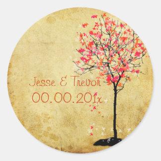 PixDezines vintage maple tree/pink Classic Round Sticker