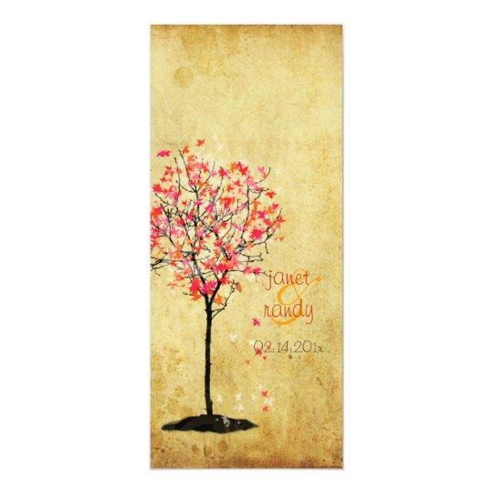 PixDezines vintage maple tree/pink+orange Card