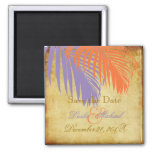 PixDezines Vintage Palm Fronds, Save the Date Square Magnet