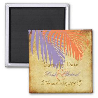 PixDezines Vintage Palm Fronds, Save the Date Magnet