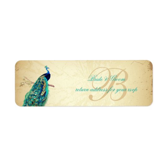 PixDezines Vintage Peacock Illustration Return Address Label