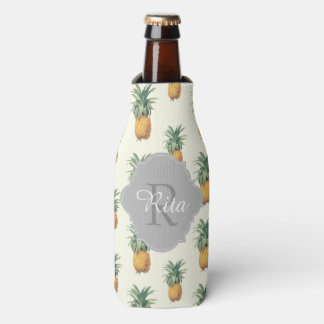 PixDezines Vintage Pineapples Pattern Bottle Cooler