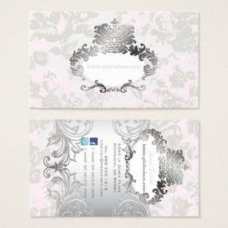 PixDezines Vintage Roses Pale Pink+Grey Business Card