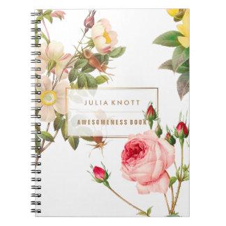 PixDezines Vintage Roses/Redoute Spiral Notebook