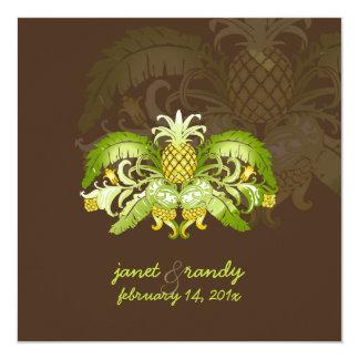 PixDezines Vintage Royal Hawaiian pineapples 13 Cm X 13 Cm Square Invitation Card