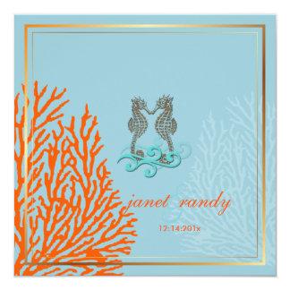 PixDezines vintage seahorse+coral/diy background Invitations