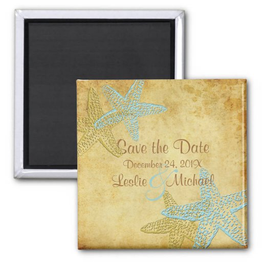 PixDezines Vintage starfish, Save the Date Magnets