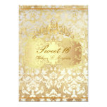 PixDezines vintage Sweet 16/ princess/pearl damask Custom Invites