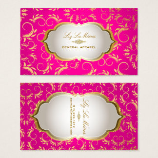 PixDezines vintage versailles damask/hot pink/gold Business Card