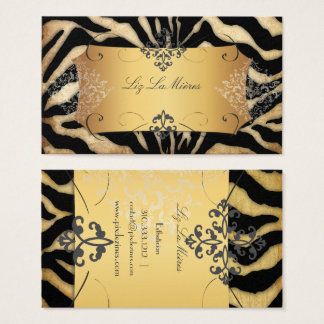 PixDezines VINTAGE ZEBRA/LACE DAMASK Business Card