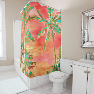 PixDezines Watercolor Effects/Hawaii/Coral/Teal Shower Curtain