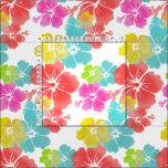 PixDezines watercolor hibiscus/pink/green/aqua Fabric