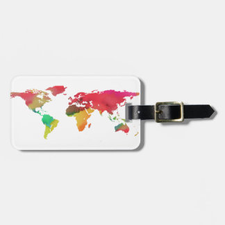 PixDezines watercolor/world map/DIY background Luggage Tag
