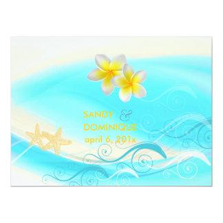 PixDezines Waves, Plumeria Lei+starfish+beach 17 Cm X 22 Cm Invitation Card