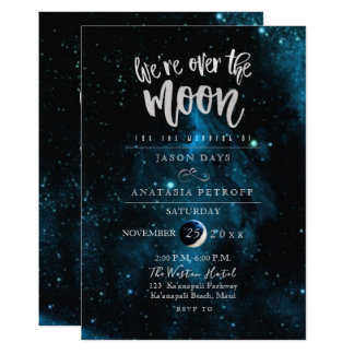 PixDezines We are Over the Moon Wedding Card
