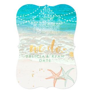 PixDezines we do chandelier/beach/destination 13 Cm X 18 Cm Invitation Card