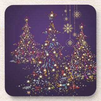 PixDezines Whimpsy Christmas Tree+snowflakes Coaster