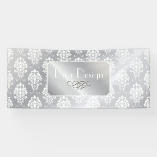 PixDezines White Damask + Silver Tone Banner