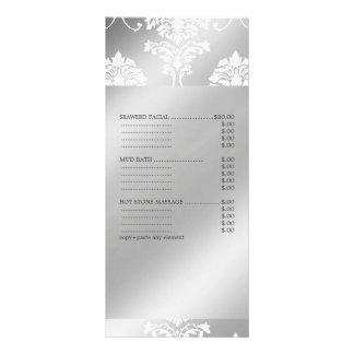 PixDezines White Damask, Spa Services Menu Custom Rack Card