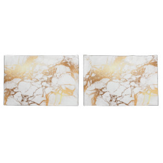 PixDezines WHITE MARBLE+FAUX GOLD VEINS Pillowcase