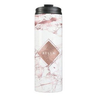 PixDezines WHITE MARBLE FAUX ROSE GOLD VEINS Thermal Tumbler