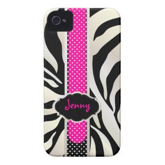 PixDezines White Zebra/Pink+Black/DIY color Case-Mate iPhone 4 Case