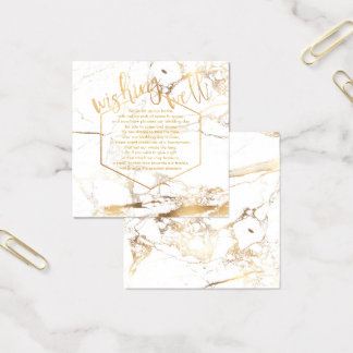 PixDezines Wishing Well/Marble /White+Gold Square Business Card