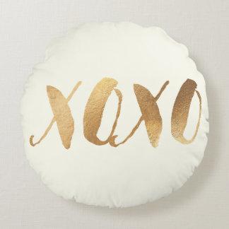 PixDezines XOXO/Faux Gold/Hearts/DIY background Round Cushion