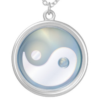 PixDezines Yin Yang, Silver Blue Silver Plated Necklace