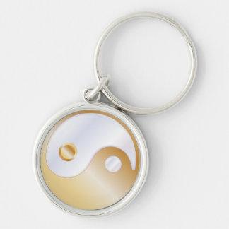 PixDezines yin yang/white+faux gold Key Chains