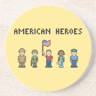 Pixel American Heroes Beverage Coasters