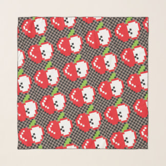 Pixel Apples Square Chiffon Scarf