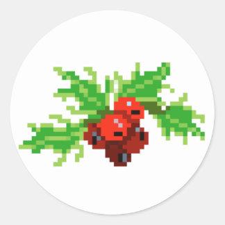 Pixel Art Holly Wreath Classic Round Sticker